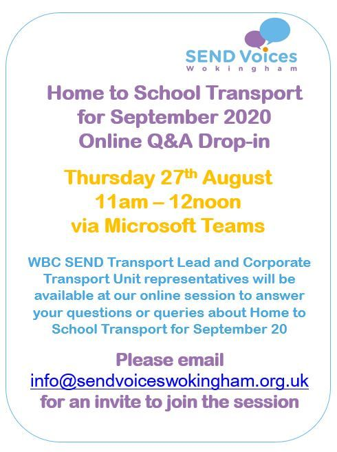 Home to School Transport for September 20 - Update from SEND Team